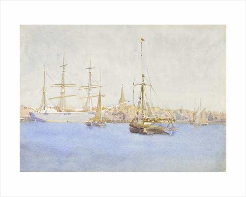 A three-masted barque at a quayside with fishing smacks by Nelson Dawson