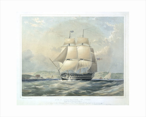 HMS 'Cornwallis',  72 guns, going out of Plymouth harbour by Oswald Walter Brierly