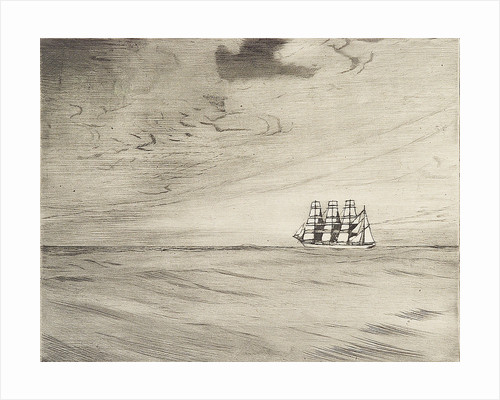 Four masted sailing vessel in a calm sea (3) by Herbert Barnard John Everett