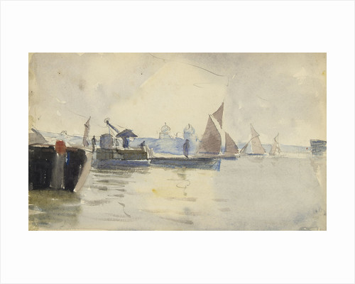 Sketch of various sailing vessels on the Thames at Greenwich (verso) by John Everett
