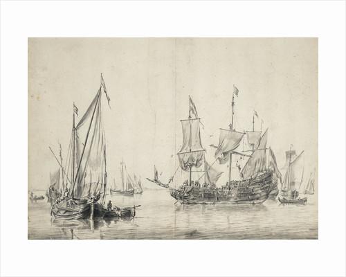 A kaag with a Dutch frigate drying sails by Willem van de Velde the Elder