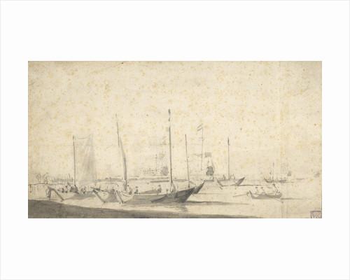 Weyschuits getting ready for sea in the Helder by Willem van de Velde the Elder