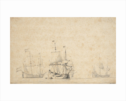 Flutes getting under way in a light breeze by Willem Van de Velde the Younger