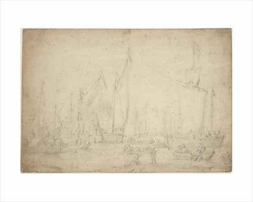 A crowded harbour showing a States yacht, hoeker and pont by Willem Van de Velde the Younger