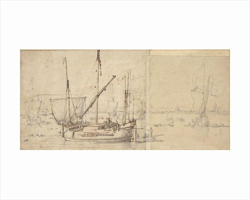 A hooker lying at a buoy by Willem van de Velde the Elder