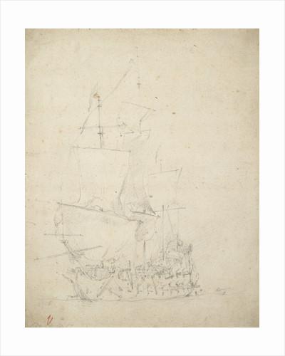 An English ship becalmed by Willem Van de Velde the Younger