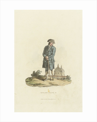 'England - Plate 12.' A Greenwich Pensioner with wooden leg leaning on a stick by John Murray