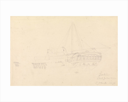 Drawing of the hull and stern of the 'Larkins', East Indiaman, 1843 by John Christian Schetky
