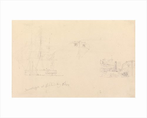 Slight sketch of 'Newcastle' frigate at Spithead by John Christian Schetky