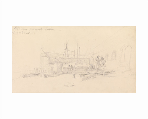 Drawing of Round Tower, Portsmouth harbour, 10 April 1815 by John Christian Schetky