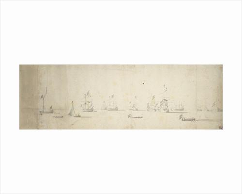 Dutch ships at anchor off the land by Willem van de Velde the Elder