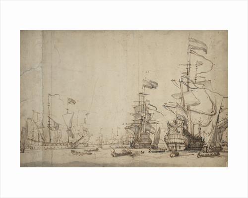 A council-of-war in the Dutch fleet? May 1665 by Willem Van de Velde the Younger