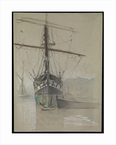 Bow view of 'Cutty Sark' (1869) as she appeared on her arrival in the Surrey Commercial Dock in 1921, with painted ports by Herbert Barnard John Everett