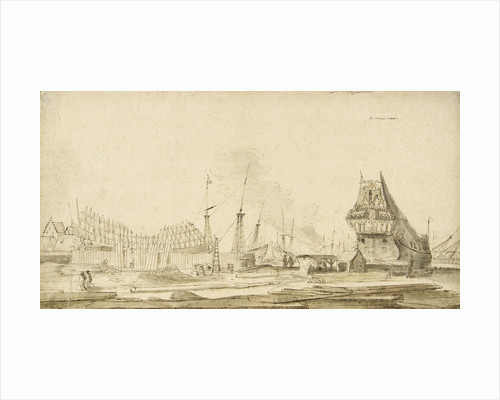 The pepper wharf of the Dutch East India Company, Amsterdam by Reinier Nooms