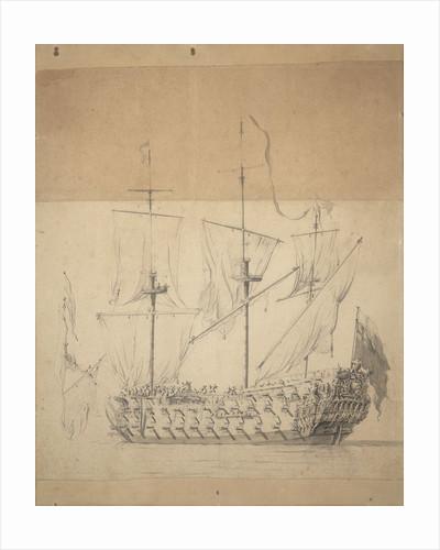 Portrait of an English third rate by Willem van de Velde the Elder