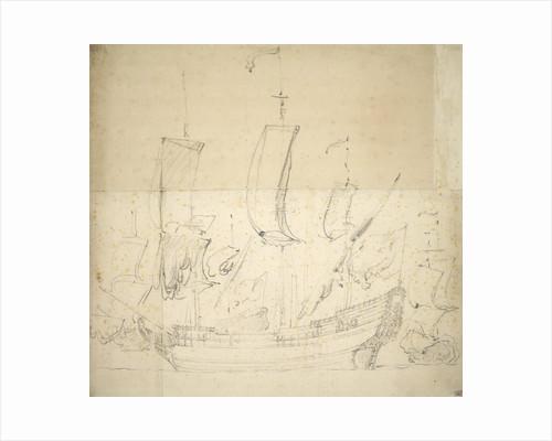Portrait of the 'George'? Fireship bought 1672,  6 guns, sunk for foundation 1674 by Willem van de Velde the Elder