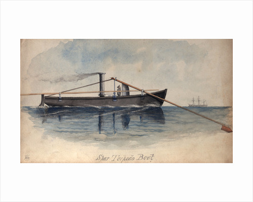 Spar torpedo boat in a calm sea by H. W.