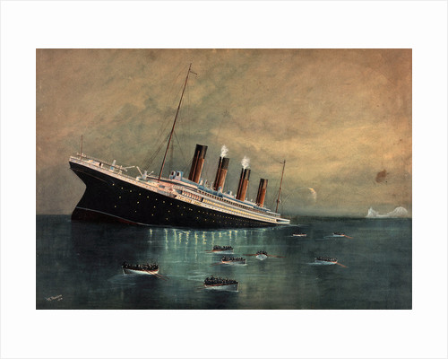 Atlantic liner 'Titanic' (Br, 1912) sinking, bow first, 1912, with eight full lifeboats nearby and an iceberg in the distance by W. Pearson