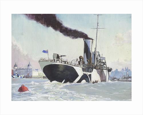 Royal Naval auxillary oil tanker off Greenwich, 1914-1918 by John Everett
