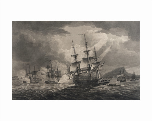 Captain Pellew of the 'Phaeton' attacking two Dutch frigates by Nicholas Pocock