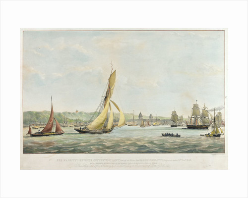 HM revenue cutter 'Vigilant' towing her prize the barge 'Charlotte', 13 December 1849 by John Christian Schetky