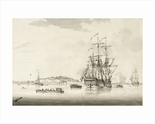 A calm with an East Indiaman anchored in an estuary by Francis Swaine
