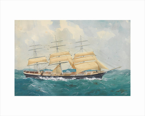 Clipper ship 'Dharwar' in a rough sea by unknown
