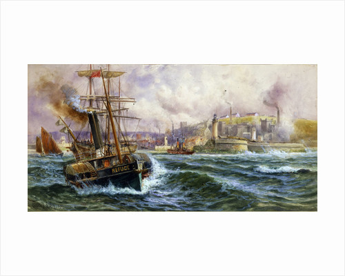 Paddle tug 'Refuge' towing out of Whitehaven Harbour, 1901 by Charles J de Lacey
