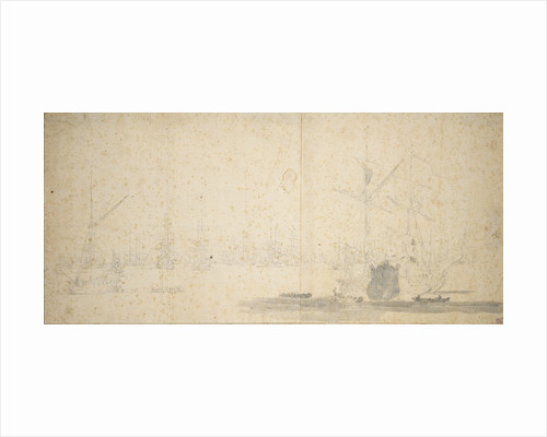English yachts and a fleet at anchor by Willem van de Velde the Elder