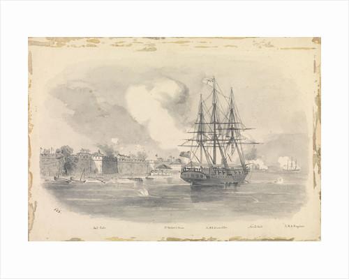 5. Capture of Ningpo, showing salt Gate, Dr Palmer's House HMS Encounter, North Gate, HMS 'Ringdove' by SSE