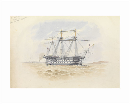 'Monarch' at Sheerness from the 'Trafalgar' 29 January 1851 by George Pechell Mends