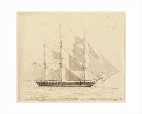 A 50-gun frigate with her staysails hoisted, calm and fine, awnings spread by John Christian Schetky