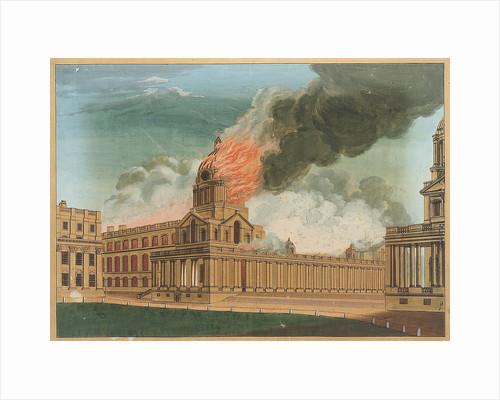 Greenwich Hospital - The Chapel burning, 2 January 1779 by E. Edye