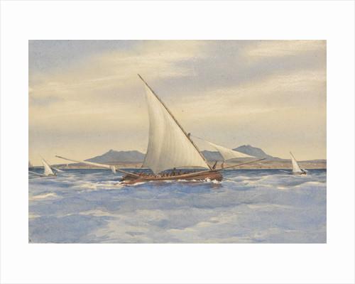 Fishing boats off the Rock of Lisbon, Decr 24th 1856 [Portugal] by Edward Gennys Fanshawe