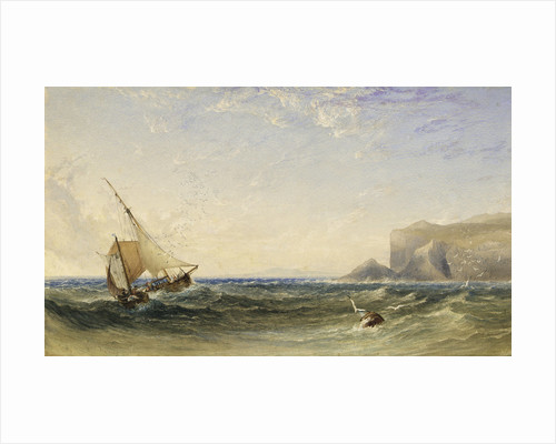 Fishing smacks by Clamshell Cove on the Island of Staffa with Iona in the distance, 1853 by Anthony vandyke Copley Fielding
