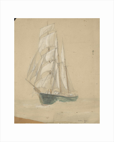 Three-masted sailing vessel in Sydney by John Everett