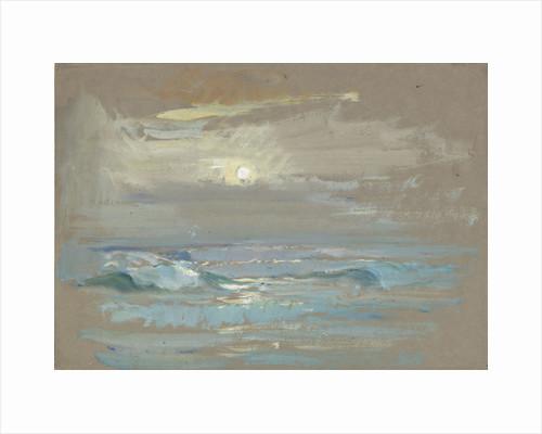 Seascape. Moonlight over a calm sea by John Everett