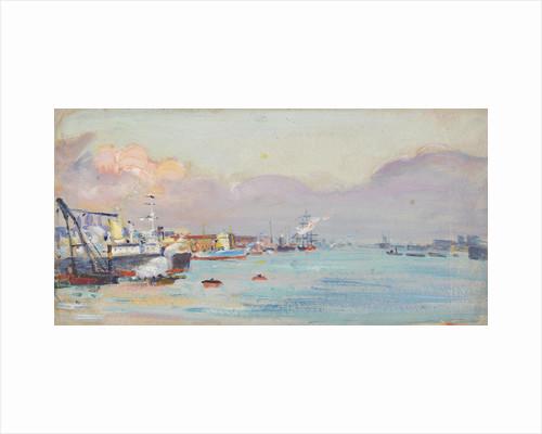 A harbour scene by John Everett