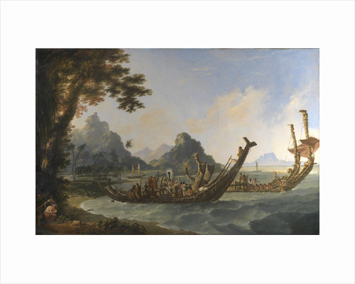 The war boats of the island of Otaheite (Tahiti) and the Society Isles, with a view of part of the harbour of Ohaneneno, in the island of Ulieta, one of the Society iIslands by William Hodges