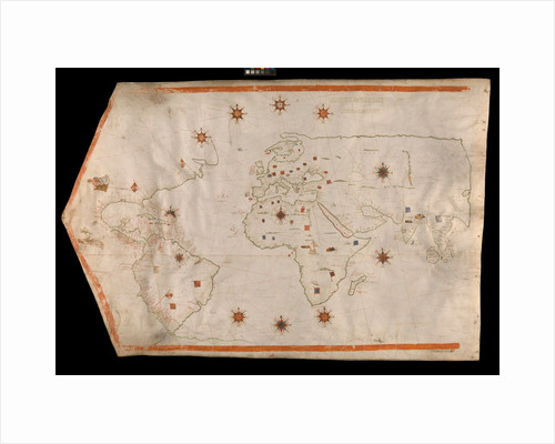 World map on vellum by Brother of Giovanni Verrazano