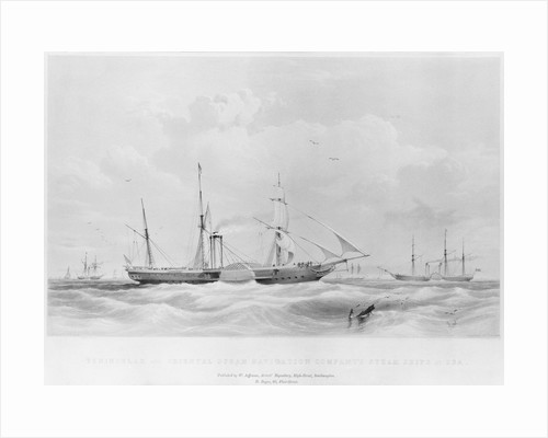 Penninsular and Oriental Steam Navigation Company's steam ships at sea. 'Oriental', 'Montrose' and 'Great Liverpool' by unknown