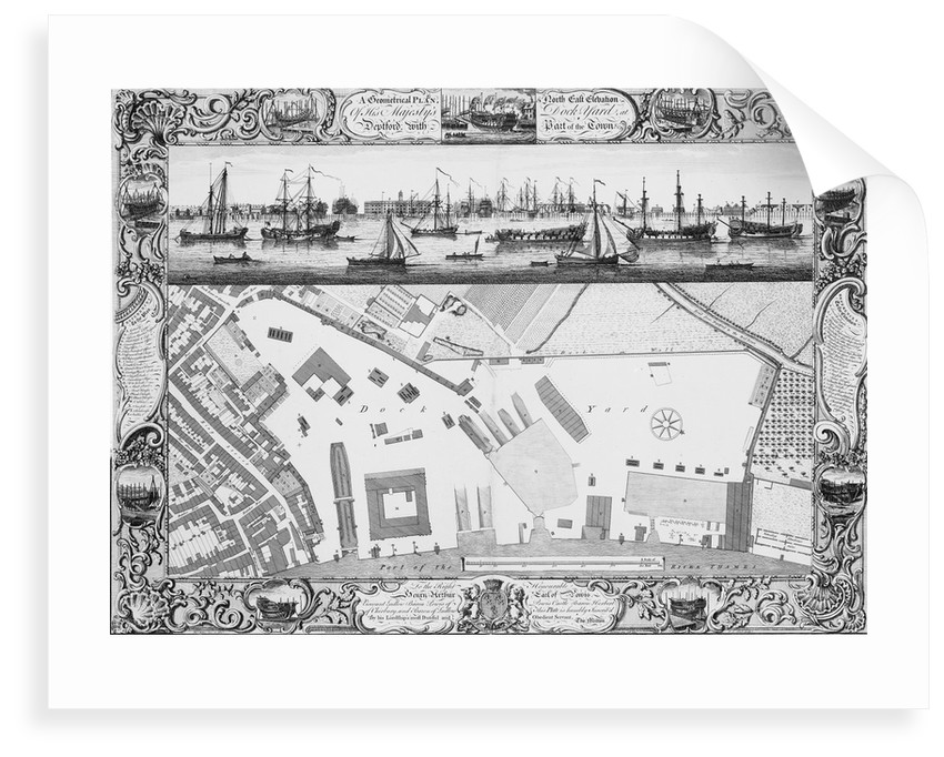 A Geometrical Plan, & North East Elevation Of His Majesty's Dock Yard, at Deptford, with Part of the Town &c by Thomas Milton; Pierre Charles Canot