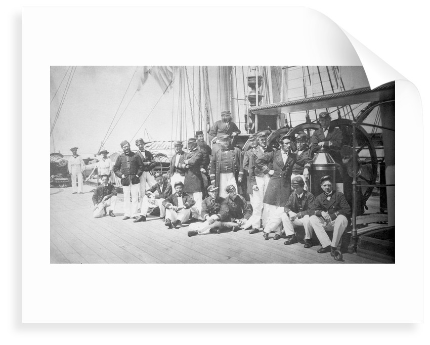 Crew assembled on the upper deck of iron-armoured ship HMS 'Warrior' (1860) by unknown