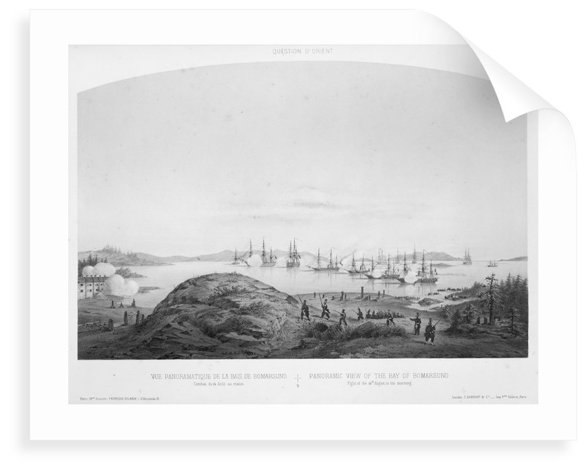 Panoramic view of the Bay of Bomarsund: fight of the 14 August 1854, in the morning by Louis Le Breton