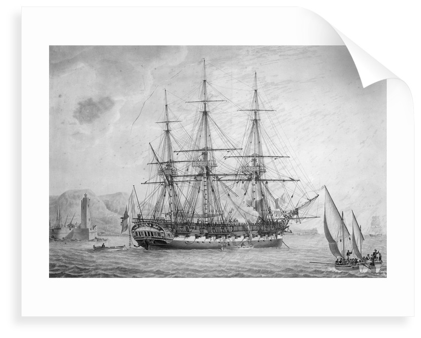 Portrait of French naval vessel 'L' Incorruptible' by Joseph Auge Antonie Roux