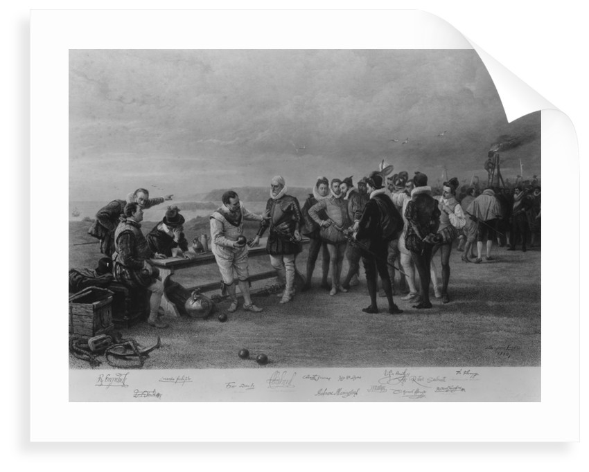 Francis Drake playing bowls on Plymouth Hoe, as the Spanish Armada is sighted, 1588 by Seymour Lucas