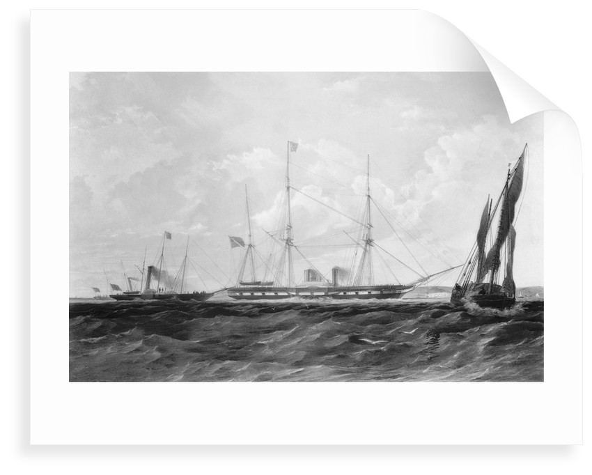 Wooden paddle steamer HMS 'Sidon' (1846) under way by Thomas Goldsworth Dutton