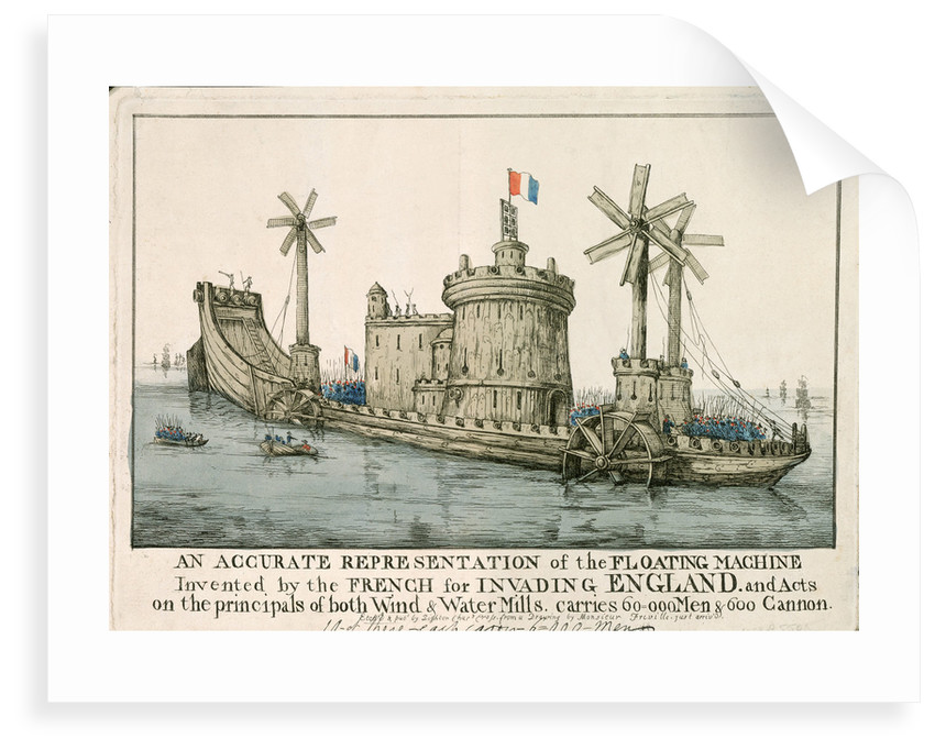 An Accurate Representation of the Floating Machine Invented by the French for Invading England by Freville