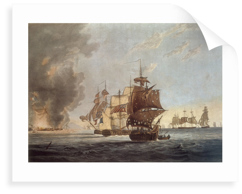To the Officers, Seamen & Marines of His Majesty's Ships Amphion, Cerberus, Volage & Active, This Plate represents...blowing up of the French Commodore, off the Island of Lissa, in the Adriatic, on the 13 March 1811 by G. Webster