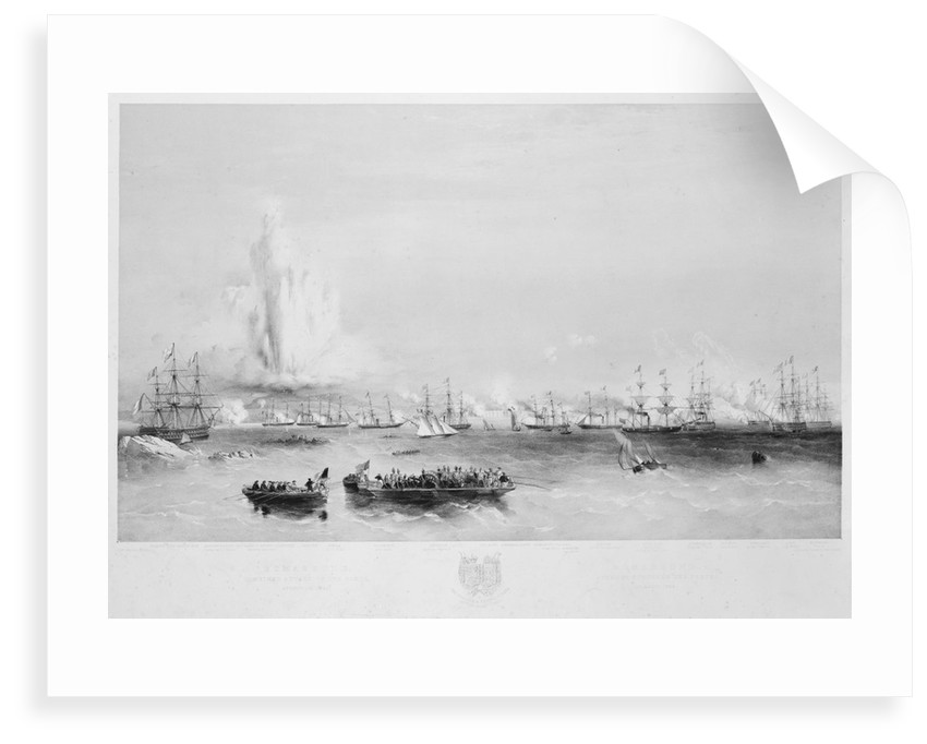 The English and French fleets in the Baltic: combined attack on the forts at Bomarsund, 15 August 1854 by Oswald Walter Brierly